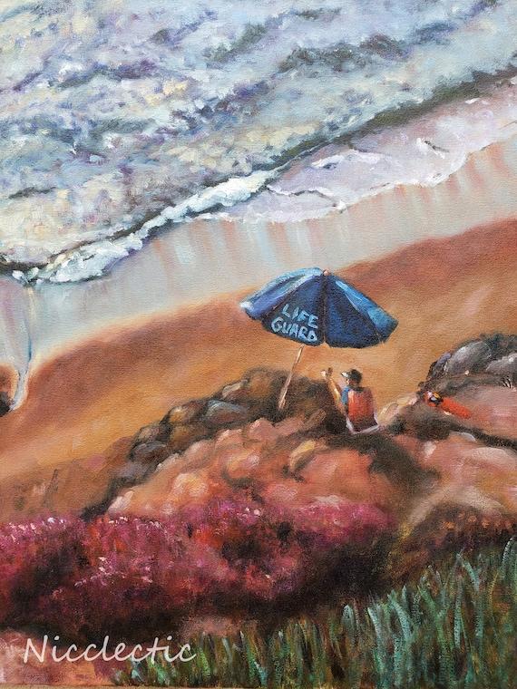 California lifeguard seascape, Studio Clearance SALE, La Jolla original oil painting beach art sale, pacific ocean, umbrella