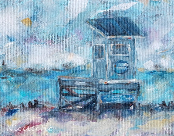 Atlantic Beach Lifeguard Stand, impressionistic coastal artwork, 8x10 lifeguard station beach art, Nicole Roggeman at Nicclectic, blues gray
