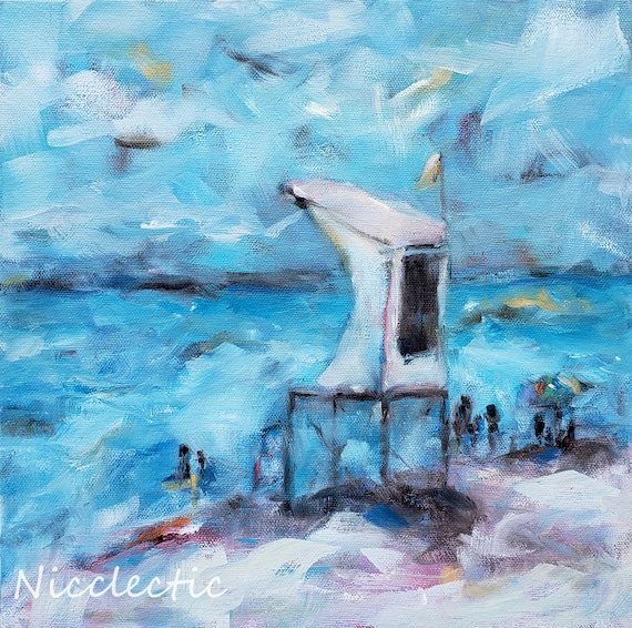 Wrightsville Beach Lifeguard Stand, impressionistic coastal art, 12x12 lifeguard station beach, Nicole Roggeman at Nicclectic North Carolina