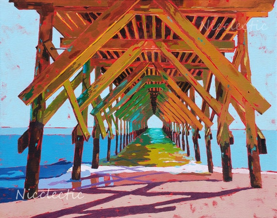 Wrightsville Beach North Carolina, Colorful Crystal Pier art print by Nicole Roggeman at Nicclectic, coastal ocean beach decor