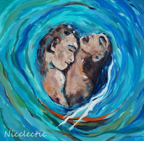Romantic Ocean Inspired Art, Couple embracing in a wave, coastal artwork, love, man and woman, rolling wave beach art, romance, Nicclectic