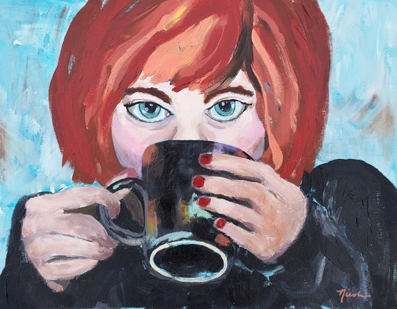 Coffee, Girl with coffee mug, red head drinking coffee, fun coffee art, ART SALE, blue eyes, woman coffee mug, morning coffee, black mug