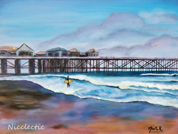 Pacific Ocean seascape with pier and yellow surfboard, Studio Clearance Art SALE, Surf board surfer art, California beach decor