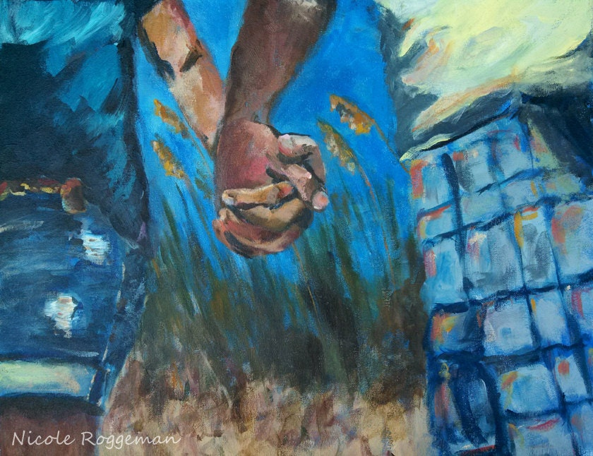 Couple Holding Hands Love Romance Husband And Wife Boyfriend And Girlfriend Impressionistic Art Hands Romantic Gift Ideas Beach Decor