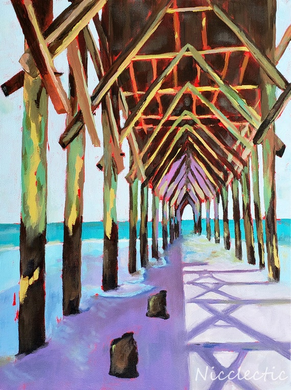 Surf City Pier, Topsail Island North Carolina, Colorful pier painting, art by Nicole Roggeman at Nicclectic, coastal ocean wooden pier water
