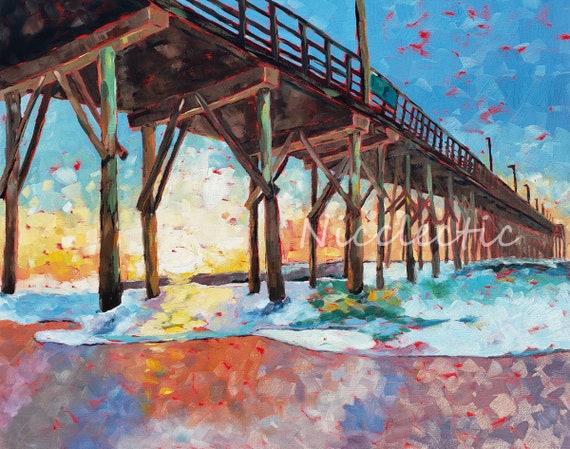 Surf City Pier, Topsail Island North Carolina, art print by Nicole Roggeman at Nicclectic, coastal ocean beach decor, 11x14 inches