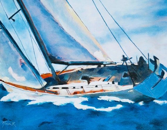 Yacht, sailing, nautical art, sailboat, print from oil painting, boat decor, sea life gifts for dad, nautical, white boat blue, nicclectic