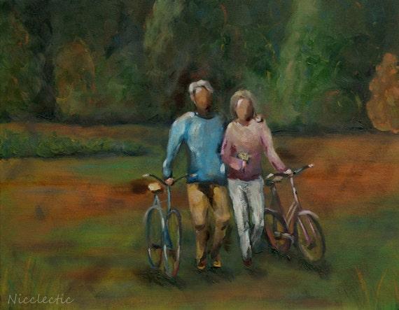ORIGINAL oil painting, couple bikes, romantic bike ride, bicycles, cabin art walking field green colors of nature outdoors walk husband wife