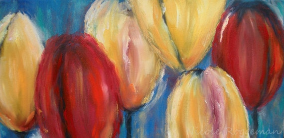 Abstract painting of tulips, gift ideas for mom, tulips, yellow and red, original art, garden art, ART SALE, flower impressionistic art