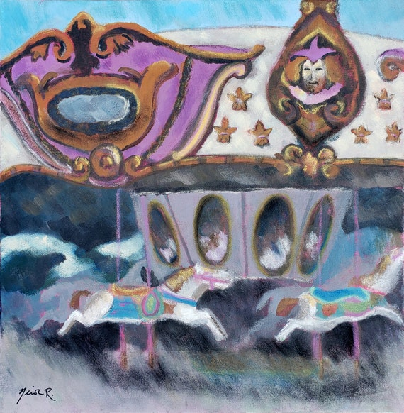 Carousel pastel painting, boardwalk rides, ART SALE, carnival, fair, carousel horses, Carolina Beach, nursery art, playroom, merry go round