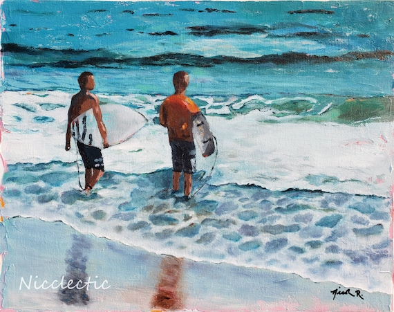 Surfers, surfing oil painting, boys with surfboards, beach house decor, boys bedroom art, surf themed room, Nicclectic, surfs up