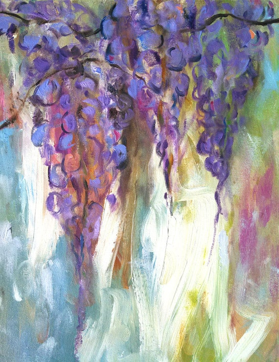Wisteria painting, flower art, painting of purple wisteria, gifts for mom, abstract lavender, garden, southern vine flowers, art on sale