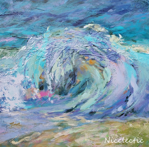 Textured wave painting, Abstract wave, navy lavender aqua seafoam, North Carolina coastal paintings, beach decor textures, nicclectic layers