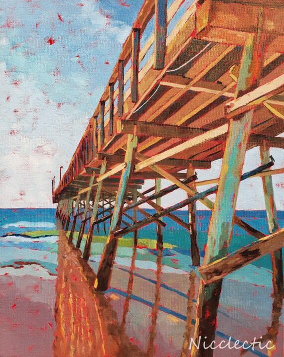 Sunset Beach Pier North Carolina, Coastal art by Nicclectic Wilmington NC, colorful painting ocean wooden fishing pier, Nicole Roggeman