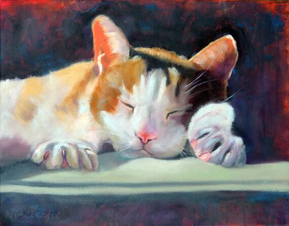 Sleeping cat, pet art, cat lover, white and brown Calico cat, animal art print, peaceful kitty, pets, relaxing, cat nap, sleep, art print