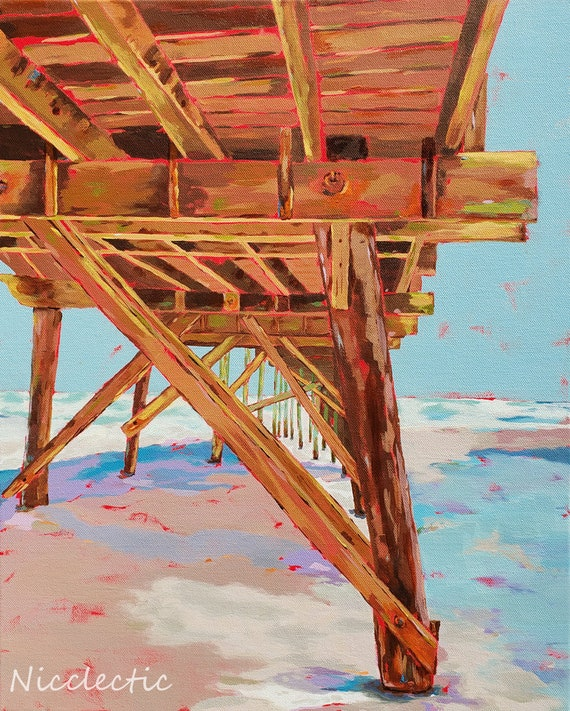 Jolly Roger Pier, Topsail Beach North Carolina, Colorful painting, art by Nicole Roggeman at Nicclectic, coastal ocean wooden piers, water