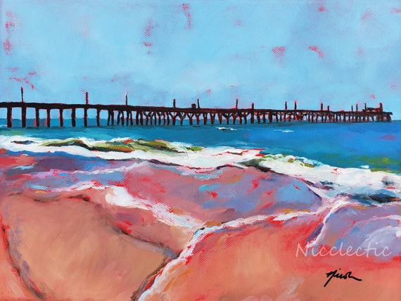 Seaview Pier, North Topsail Island North Carolina, Colorful painting, art by Nicole Roggeman at Nicclectic, coastal ocean wooden pier water