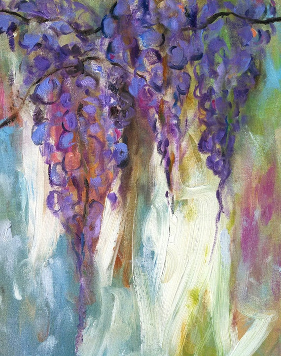 Wisteria paintings, purple wisteria flower, flower wall art, purple flowers, art prints, 11x14 art, painted flowers, light colored art