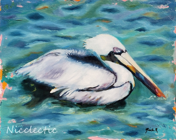 Pelican oil painting by Nicclectic, beach bird swimming in the ocean, beach house decor, white and aqua blue coastal art, 16x20 inches