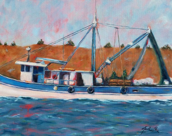 Fishing boat print, shrimp boat, beach house wall art, coastal decor, nautical art, gifts for dad, blue art, ocean boat beach themed art