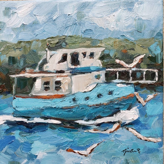 Small boat art, impressionistic boat lover coastal artwork, 6x6 beach water painting, boating gifts for dad, Coastal NC Nicclectic blue aqua