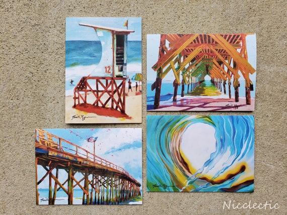 Wrightsville Beach, North Carolina Greeting Card Set,  5x7 blank inside art cards, Carolina Beach, Crystal Pier, Lifeguard Stand Nicclectic