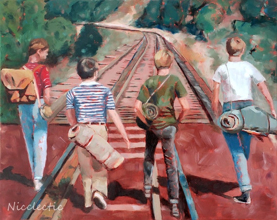 Stand By Me, 80s movies art, River Phoenix, movie scene, best friends, friendship, boys bedroom decor, 1980s, fan art, Nicclectic, adventure