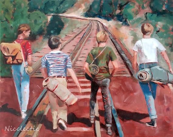 Stand By Me, 80s movies art, River Phoenix, movie scene, best friends, friendship, boys bedroom decor, 1980s, fan art, Nicclectic, adventure