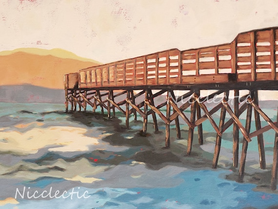 Crystal Pier, Wrightsville Beach North Carolina, sunrise painting, art by Nicclectic Wilmington NC, coastal ocean wooden fishing pier water