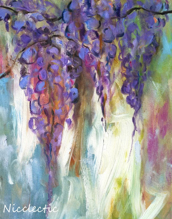 Wisteria paintings, purple wisteria flower, flower wall art, purple flowers, art prints, 11x14 art, painted flowers, lavender gifts for mom