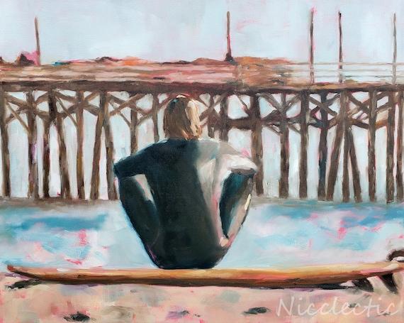 Surfer, surfing oil painting, contemplation, ocean art, beach house decor, boys bedroom art, surf themed room, Nicclectic, surfs up pier