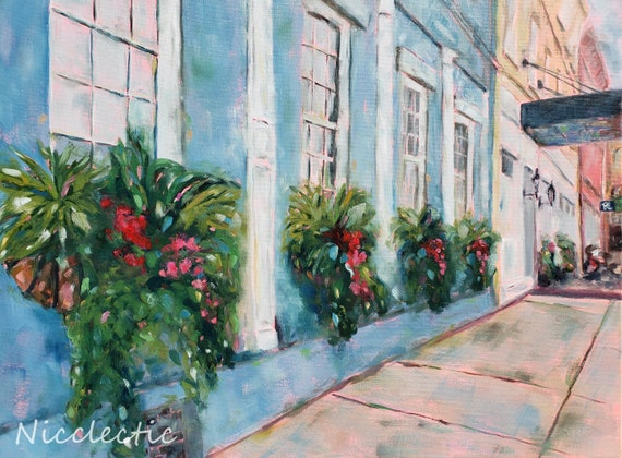 Charleston SC oil painting from Vendue Range, Colorful buildings full of Southern charm, Window boxes full of flowers, coastal Nicclectic