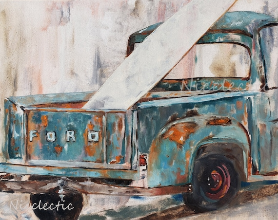 Rusty Ford Pick-up Truck Painting art by Nicole Roggeman at Nicclectic in North Carolina, coastal decor, southern style, blue and orange