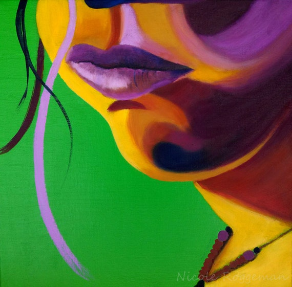 Studio Clearance Sale, Art Sale, Lips, flourescent, lime green, magenta, pop art, womans face, portrait, fashion, full lips, strand of hair