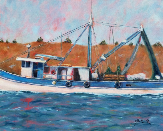 Fishing Shrimping Boat, Coastal North Carolina Art, Fishing Trawler, Nautical artwork for Dad, Topsail Island, Cocoa Beach, Nicclectic