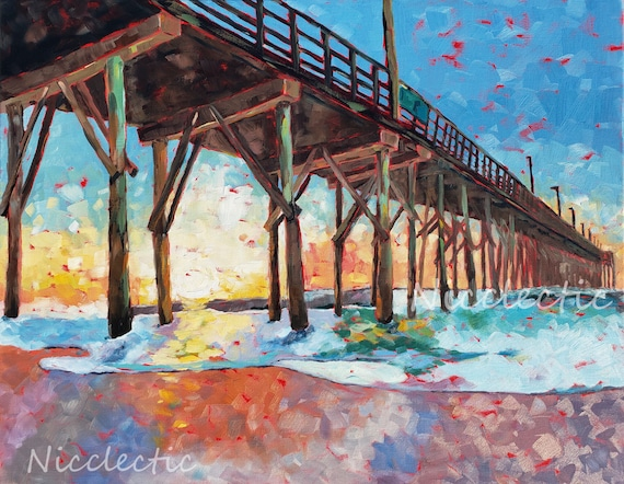 Surf City Pier, Topsail Island North Carolina, Colorful painting, art by Nicole Roggeman at Nicclectic, coastal ocean wooden piers, water
