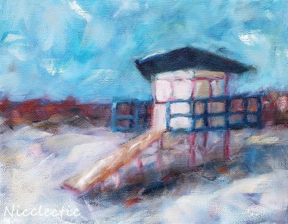Cocoa Beach Lifeguard Stand, impressionistic coastal artwork, 8x10 lifeguard station beach art, Nicole Roggeman at Nicclectic, Florida art