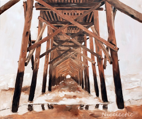 Oak Island Pier in North Carolina Sepia oil painting, Monochromatic Coastal Art Burnt Sienna Ocean Artwork Nicole Roggeman from Nicclectic