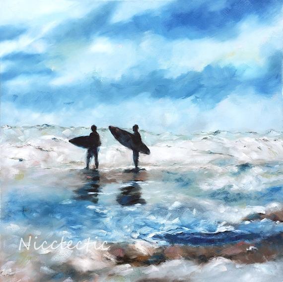 Surfers silhouette oil painting, ocean artwork, beach house wall art, coastal decor, surfing, blue and gray, board meeting Topsail Island NC