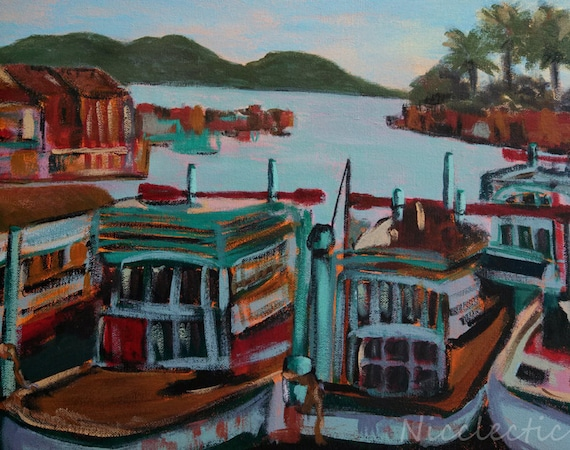 Wooden boats, fishing boats, docks, green and red boats, painted wood, boating decor, harbor, fishing docks, cabin art, lake house decor