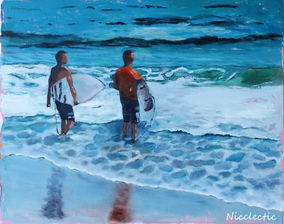 Surfers, surfing oil painting, boys with surfboards, ocean art, beach house decor, boys bedroom art, surf themed room, Nicclectic, surfs up