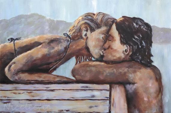 Romantic art, Kiss on the Dock, couple kissing, summer love, water, beach art, romance, love, blonde, bikini, kiss in water, sepia, gray