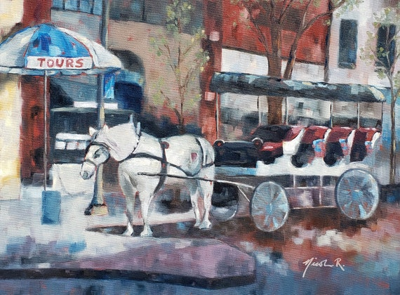 Horse and carriage ride Wilmington NC, downtown, market street, white horse, carriage ride artwork, romantic art, impressionistic nicclectic