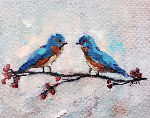 Eastern Blue Birds Painting, Bird artwork SALE, small bluebirds on branch, Nicole Roggeman, North Carolina artist original art free shipping