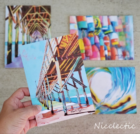 Topsail Island, North Carolina Greeting Card Set,  5x7 blank inside art cards, gift ideas under 25, Surf City Pier, Wave,  Buoys, Nicclectic