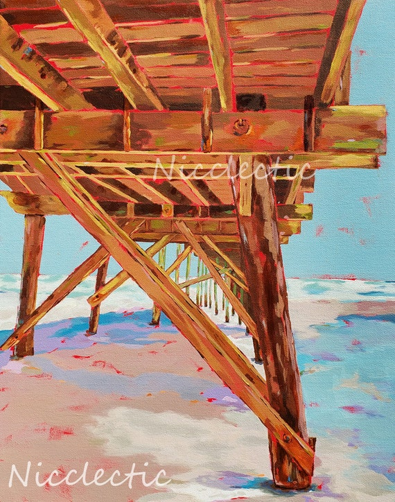Jolly Roger Pier, Topsail Beach North Carolina, Colorful painting, art by Nicole Roggeman at Nicclectic, coastal ocean wooden pier water