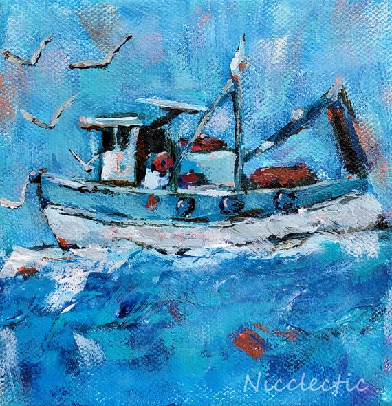 Fishing boat small art, impressionistic coastal artwork, 5x5 beach water painting, boating gifts for dad, Coastal NC, Nicclectic blue aqua