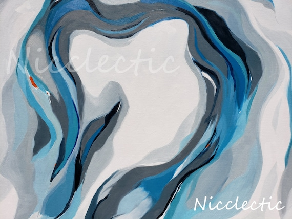 Abstract wave painting aqua gray white, North Carolina coastal paintings, beach decor by nicole roggeman at nicclectic, water inspired ocean