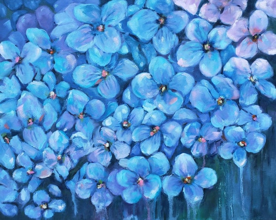 Hydrangeas, blue flowers, hydrangea painting, impressionistic garden, nicclectic flower art, coastal North Carolina, 16x20, pink purple