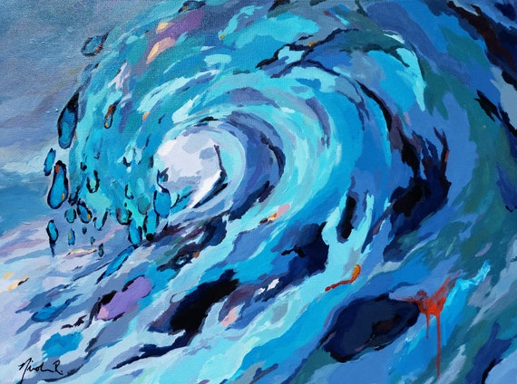 Wave paintings, abstract wave art, beach art oil paintings coastal decor aqua, blues, wave barrel surf art ocean inspired artwork nicclectic